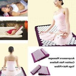 3PCS Acupressure Mat and Pillow Set for Back/Neck Pain Relie