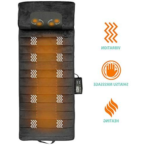 Full Massage with Shiatsu Neck Vibrating Motors Massage Pad Relieves Stress, Tension, in Waist, and